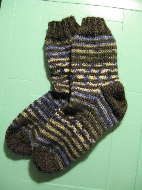 Gråblå stribede sokker